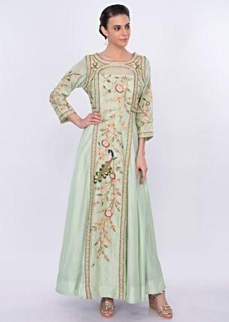 Pista green silk anarkali dress in floral and peacock motif only on Kalki