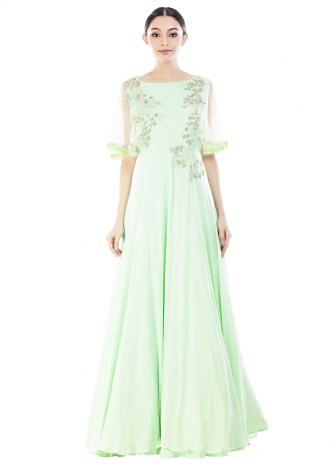 Pistachio Green Cape Sleeves Gown