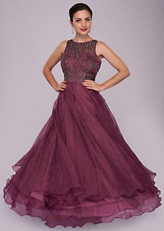 Plum gown in organza with cut dana and moti embroidery