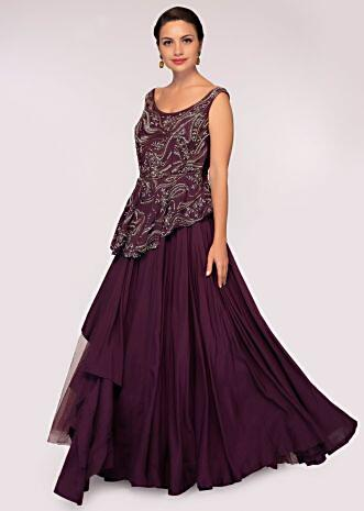 Plum net gown with peplum style embroidered bodice