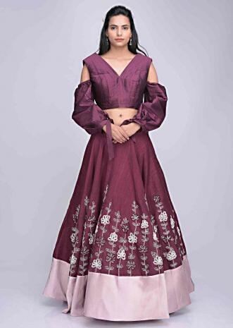 e1a21f85307 Plum raw silk and rose pink satin lehenga with plum silk crop top only on  Kalki