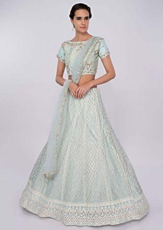 Powder blue  net lehenga with matching embroidered raw silk blouse and net dupatta only on kalki