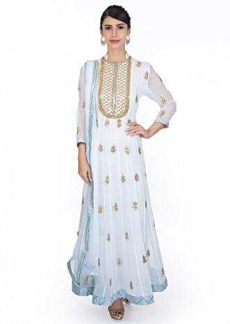 Powder blue  anarkali dress in gotta patch embroidery paired with matching chiffon dupatta