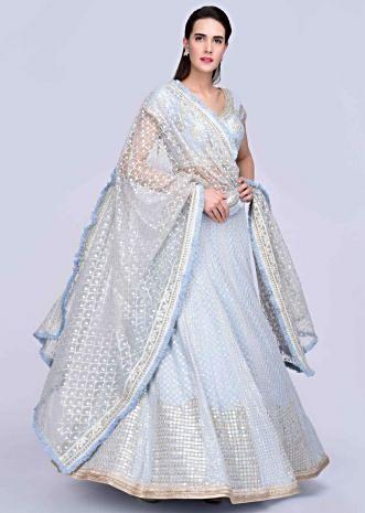 22d7679b4 Powder blue lucknowi embroidered georgette lehenga with matching blouse and  net dupatta only on Kalki ...