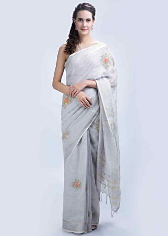 b4e4b0e06b7 Powder grey linen saree with floral embroidered butti only on Kalki ...