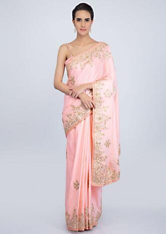 Powder pink cotton silk saree with gotta patch embroidered butti and border only on Kalki
