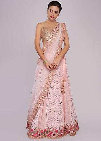 Powder pink lehenga in lucknowi thread embroidery