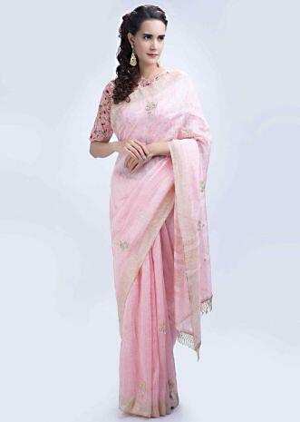 26b2c55444e9c8 Powder pink linen saree with hand embroidered butti only on Kalki ...
