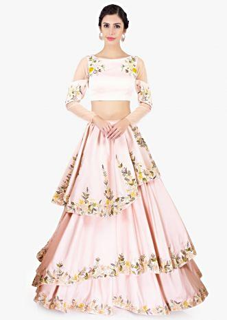 Powder pink multi layered crepe skirt paired with floral embroidered crop top