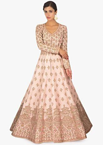 Powder pink raw silk  anarkali  embellished  gown