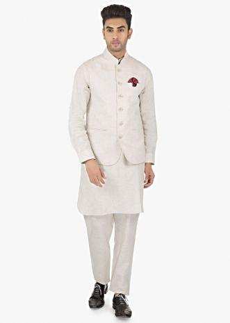 Powder white Linen Pant, Shirt and a fancy Fabric Silk Vest Coat Only on Kalki-White