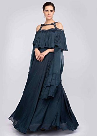 e31112036 Prussian blue crepe chiffon lehenga paired with a matching crop top with  fancy cut out neck ...
