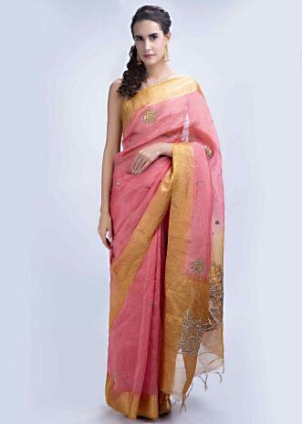 e5089f267dbcc2 Punch pink linen saree with gotta embroidery and butti only on Kalki ...