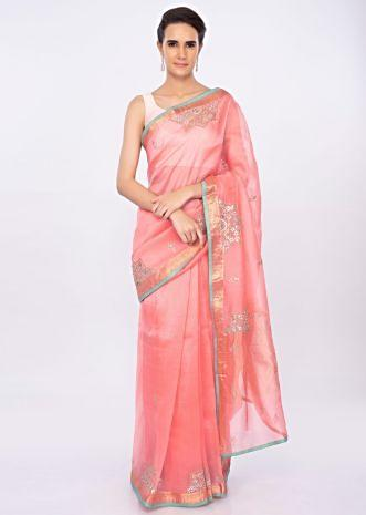 Punch pink organza saree with butti and border only on kalki
