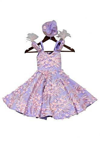 Purple  Gown with 3D flower embroidery By Fayon Kids