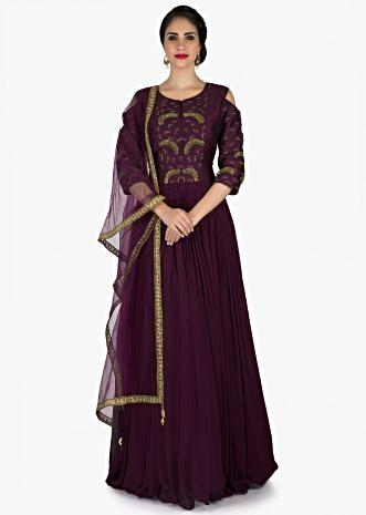 Purple anarkali suit with cold shoulder and zardosi embroidery only on Kalki