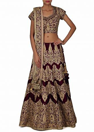 Purple Lehenga adorn in resham and kundan embroidery only on Kalki