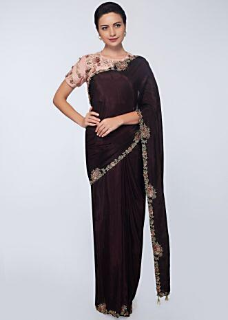 Raisin  purple silk saree with embroidery and applique work
