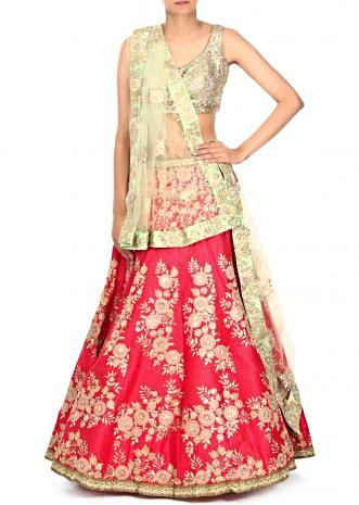 Rani pink lehenga adorn in applique and zari embroidery only on Kalki