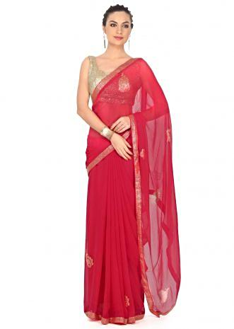 Red saree enhanced in kundan embroidered butti only on Kalki