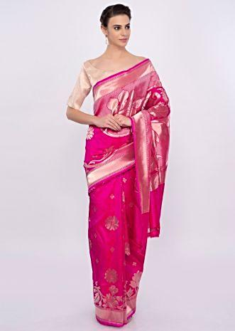 Rani pink silk saree with weaved butti and border only on Kalki