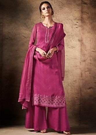Rani pink unstitched suit in resham embroidered placket and hem line