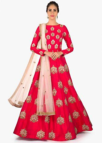 Rani pink raw silk anarkali suit with shimmer dupatta only on Kalki