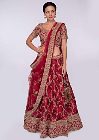 Red and dark maroon shade heavy raw silk lehenga set with net dupatta