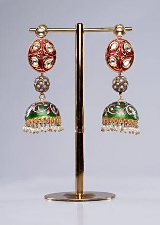 Red and green shade long drop traditional jhumkas earring