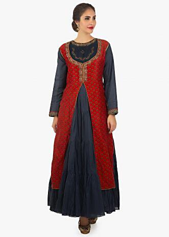 Red blue long anarkali dress with gathers and a printed top layer