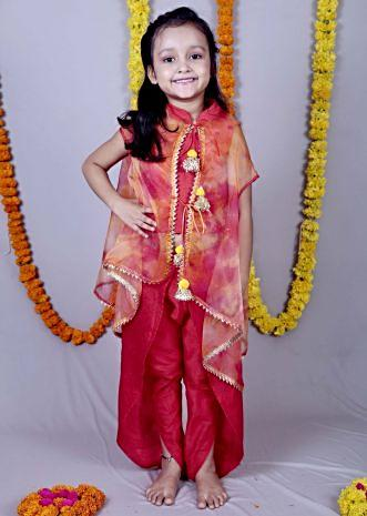Red crop matched with sheer jacket and layered dhoti pants