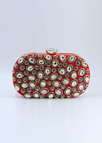 Red curve box clutch in chanton flat back beads