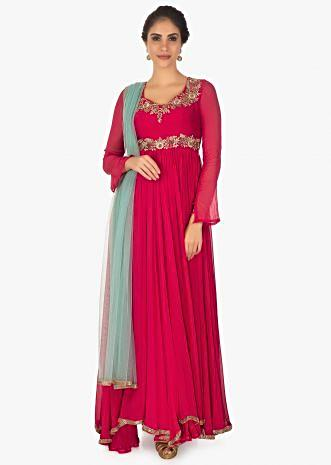 Red georgette anarkali with lycra churidar and contrasting blue net dupatta