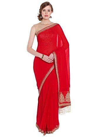 Red georgette saree with embroidered butti pallav border only on Kalki