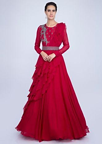 a2a969ec11c Red gown with an embellished belt and a wrap around in frilled layer only  on Kalki ...