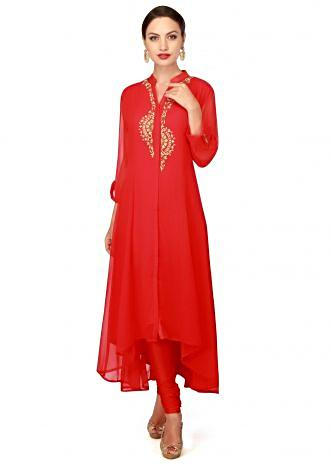 Red kurti adorn in resham and kundan placket only on Kalki