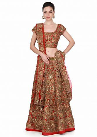 Red lehenga adorn in cut work in kardana and resham only on Kalki