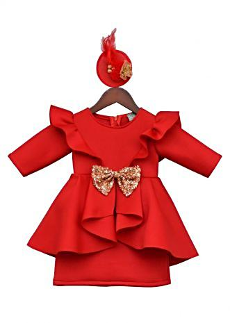 Red Neoprene Dress with sequin bow By Fayon Kids