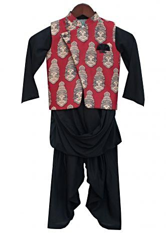 Red Printed Nehru Jacket with Black Kurta and Salwar by Fayon Kids