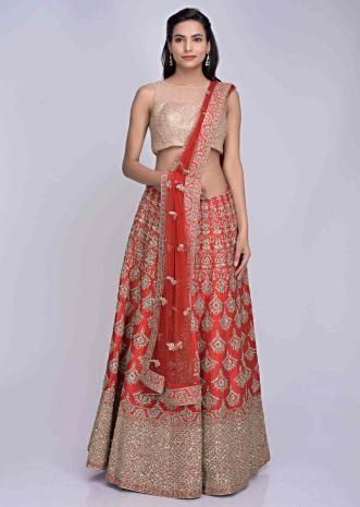 746b14f4dd Red raw silk heavily embroidered lehenga set with red net dupatta only on  Kalki ...