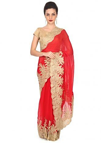Red saree with zari and kundan embellished border only on Kalki