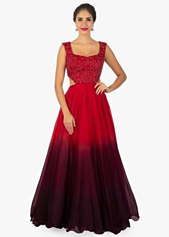 Red shaded organza gown crafted with hand embroidery on the bodice