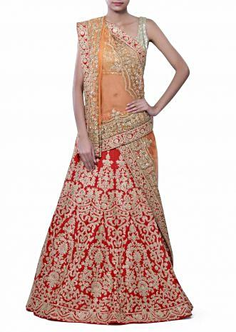 Red unstitched lehenga adorn in zari embroidery only on Kalki