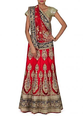 Red semi stitched lehenga adorn in zardosi and sequin only on Kalki