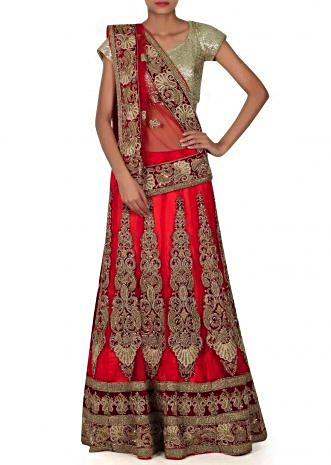 Red semi stitched lehenga in zardosi patch work only on Kalki