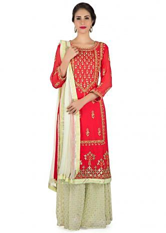 Red straight palazzo suit with embroidered placket in gotta patch embroidery only on Kalki