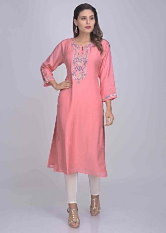 23750c7232 Rose pink cotton kurti with embroidery work only on Kalki