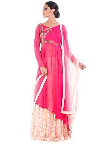 Rose Pink Long Jacket With Cream Lehenga Set