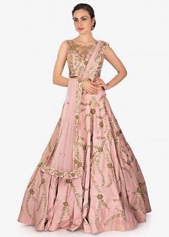Rose Pink Raw Silk Lehenga, Blouse and Net Dupatta Set Featuring Zardosi Work Only on Kalki