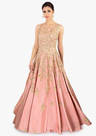 Rose pink satin gown with embroidered jaal and butti